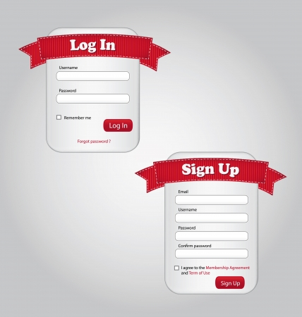 Illustration of Login and Sign up forms  Vector