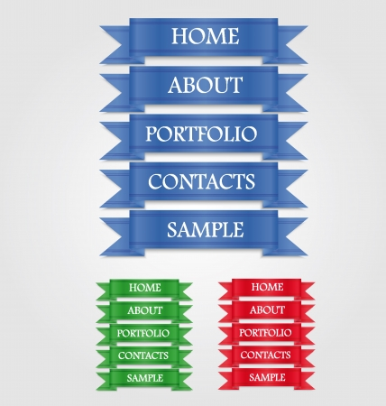 Web navigation templates in three colors Illustration