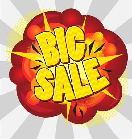 Cartoon explosion pop-art style – big sale. Vector