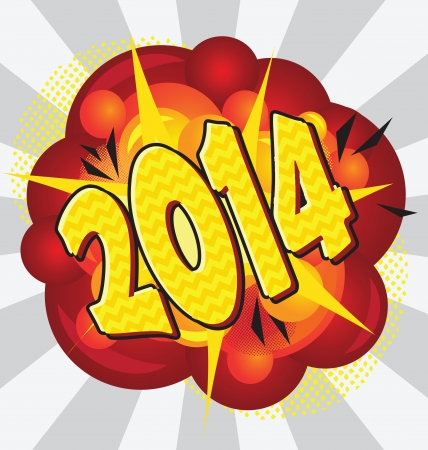 Cartoon explosion pop-art style – 2014. Vector