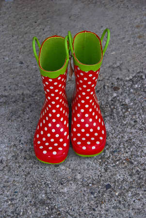 Polka dot red rubber boots