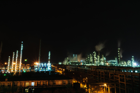 Night view of chemical plant Editorial