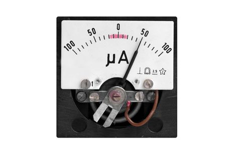 micro ampere meter isolated on white (half scale) photo