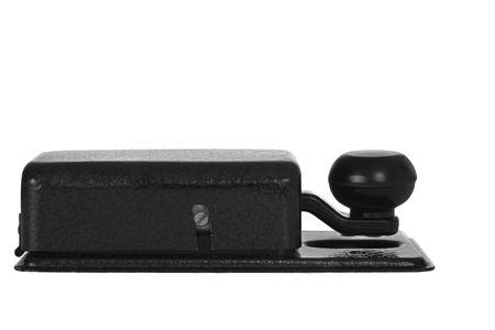 telegraphy: Morse chiave isolata on white (vista laterale)  Archivio Fotografico