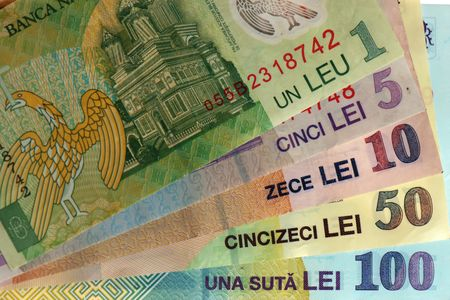 romanian notes: one, five, ten, fifty, one hundred