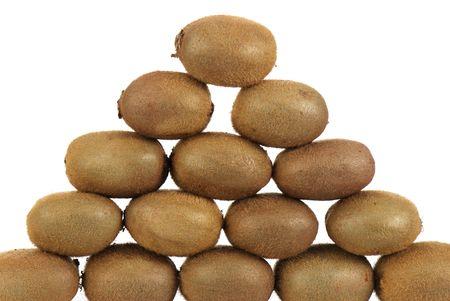 pyramid of kiwis isolated on white background Stock Photo