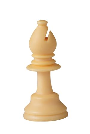 plastic white chess bishop isolated on white background