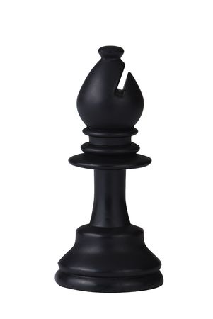 bishop chess piece: plastic black chess bishop isolated on white background