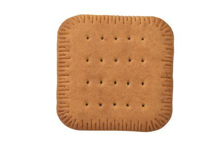 galletas integrales: Plaza galleta craqueador aislado sobre fondo blanco Foto de archivo