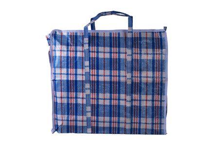 raffia blue bag isolated on white background