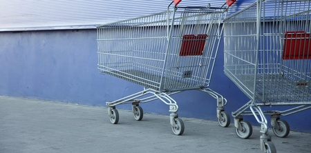shopping carts, basket, outdoor blue background Stock Photo - 8421215