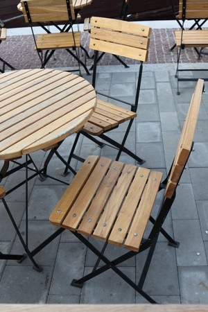 Empty terrace - table and folding chair Stock Photo