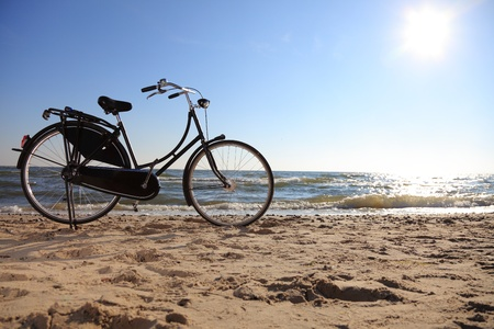 black bicycle at beach and sea Stock Photo - 8445996