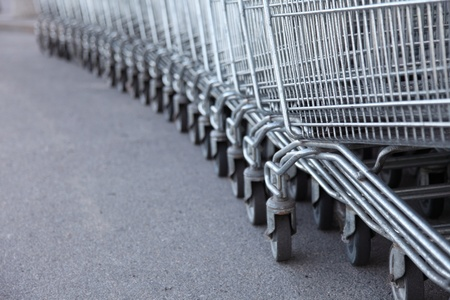shopping carts, basket, outdoor footpath background