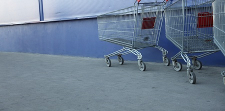 shopping carts, basket, outdoor blue background Stock Photo