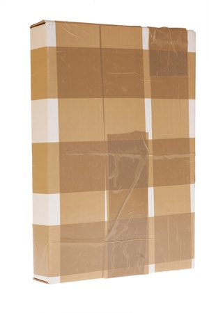 Side of Cardboard Box with Tape isolated on white, Secure package Stock Photo