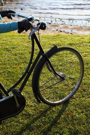 black bicycle wheel, green lawn and sea water