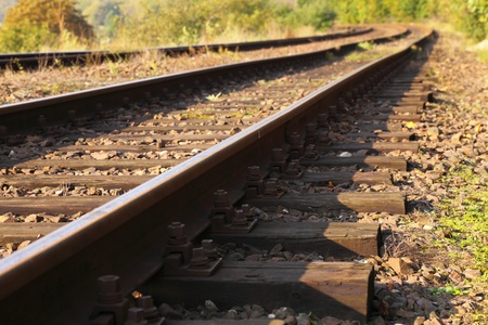 Rail Road Tracks - outdoor Stock Photo