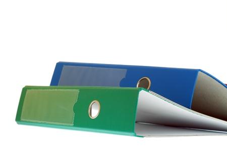 office folders binder isolated on white photo
