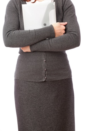 businesswoman in grey with folder, isolated on white  photo