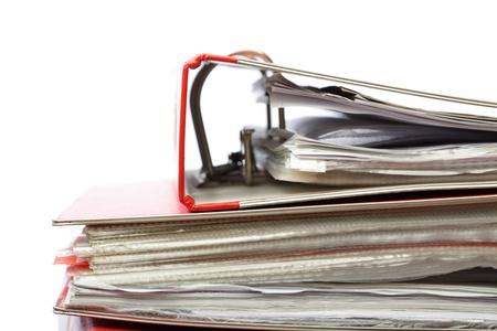 disorganization: stack file Office folder on white background