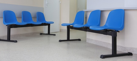 waiting room - blue chairs, door Stock Photo - 10614775