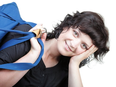 woman smile in black and blue shoulder bag isolated on white Stock Photo - 11399038