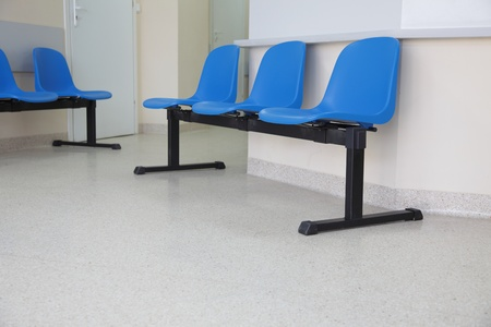 waiting room - blue chairs, door Stock Photo - 11374205