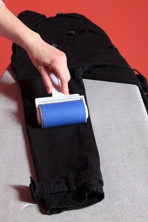 lint: Woman hand cleaning dust with lint roller