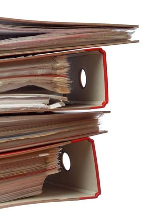 estuche: pila de carpeta de archivo de Office en el fondo blanco