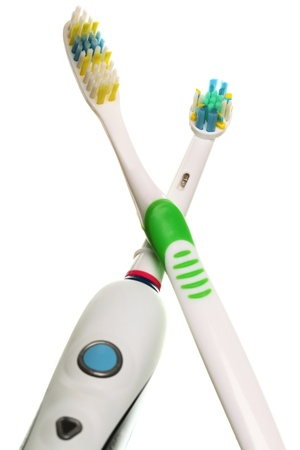 modern electrical toothbrush isolated on white background Heads electric photo