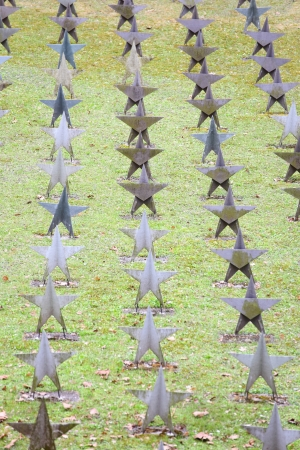 Rows Of Star Tombstone at cemetery, soviet burial ground. Gdynia, Poland Stock Photo - 13631325