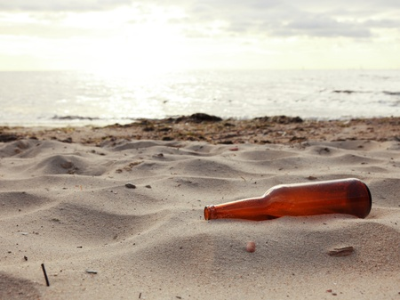 bottle on beach sea and sky Stock Photo - 13657459