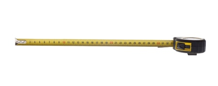 cm: One foot on a tape measure.