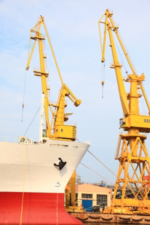 yellow port crane terminal seaport outdoor photo