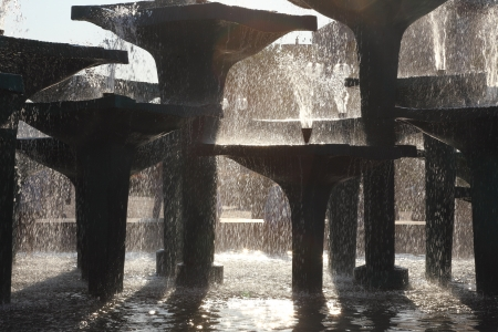 creates: Outdoor sunlight Reflecting Pool Fountain Creates Poland Stock Photo