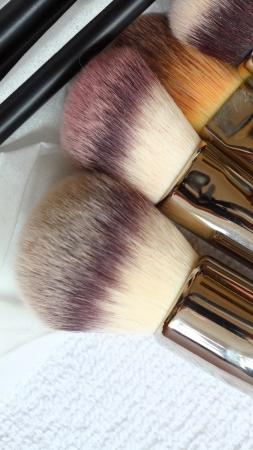 close-ups of make-up brushes - beauty treatment photo