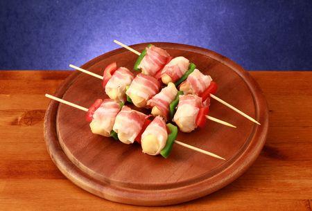 kabob: kebab of soft cheese and bacon