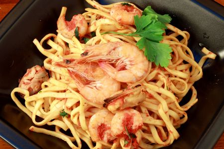tagliatelle with seafood photo
