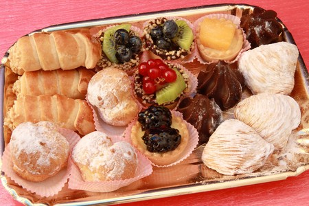 party tray: tray of pastries Stock Photo