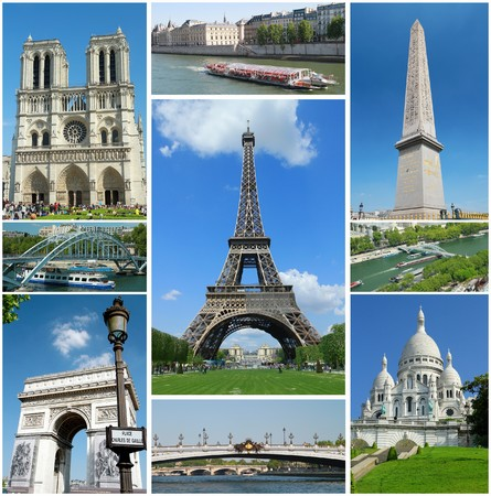 famous place: collage of paris Stock Photo