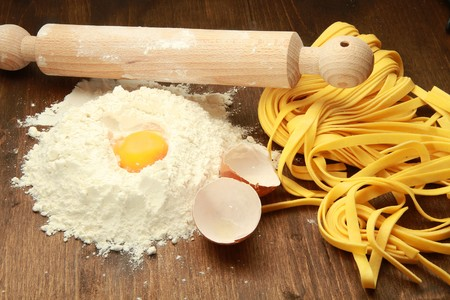 Fresh pasta with egg and flour Stock Photo - 7297288