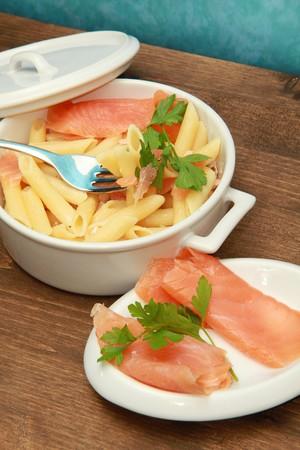 pasta wih smoked salmon photo