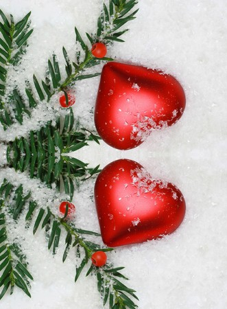 red heart in the snow  photo