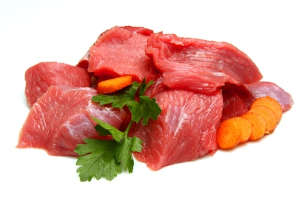 raw beef: beef cubes Stock Photo