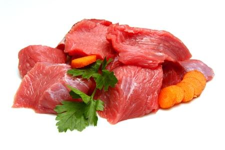 steak cru: cubes de boeuf Banque d'images
