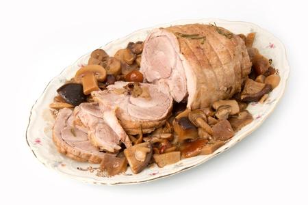 veal roast with mushroom photo