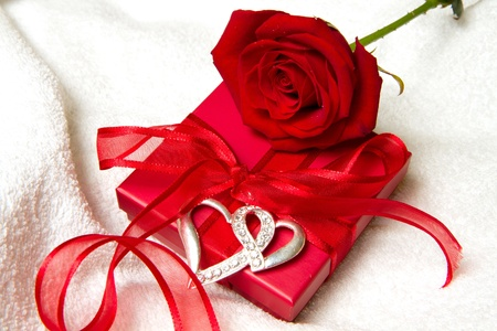 red rose and gift box photo