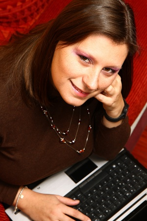 girl with pc Stock Photo - 8859615