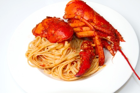 lobster spaghetti with tomato sauce Stock Photo - 8979771
